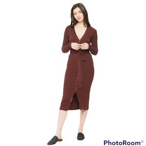 Comune Long Sleeve Rib Sweater Dress w/ Front Button,Tie Belt+Scallop Sleeve SzS